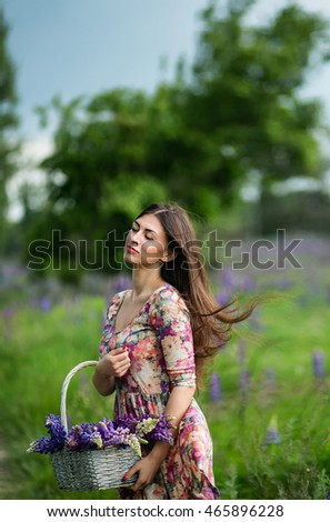 Beautiful dark-haired girl in a summer dress in a field of blooming lupine with a basket of flowers in their hands