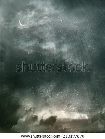 Beautiful dark sky background - stock photo