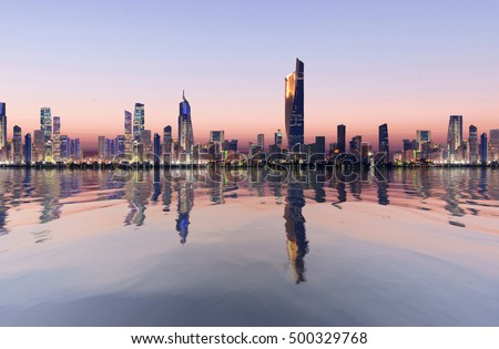 beautiful dawn view of kuwait cityscape