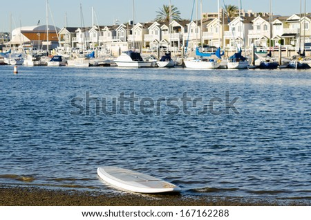 Beautiful day at the beach with surf board