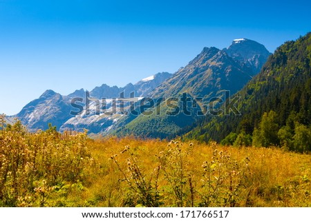 beautiful day in the autumn landscape of the mountain
