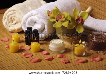 Beautiful day spa setting - stock photo
