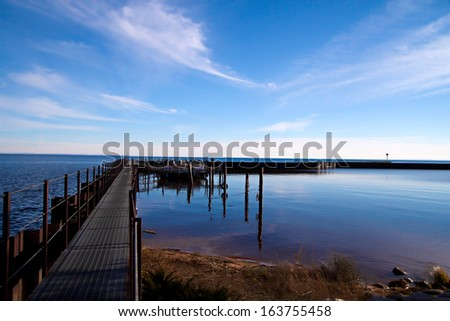 Beautiful Deception. Remote and beautiful Whitefish Point State Harbor is located on the Great Lakes infamous Graveyard Coast.  - stock photo