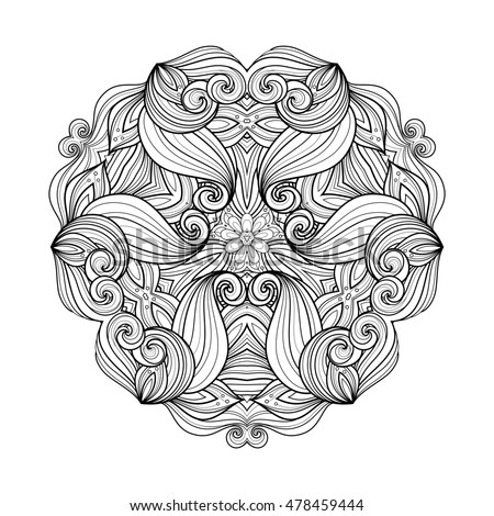 Beautiful Deco Monochrome Triangle, Patterned Design Element, Original Mandala