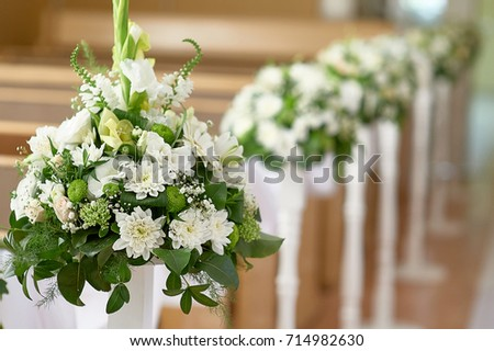 Beautiful Decor White Flowers Church Wedding Stock Photo (Royalty ...