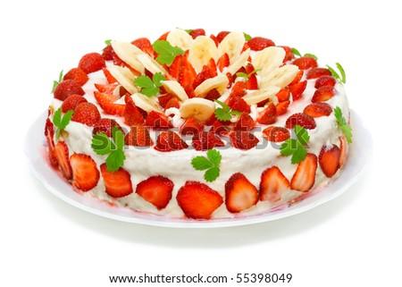 Beautiful decorated fruit cake , strawberry-banana paradise isolated on white - stock photo