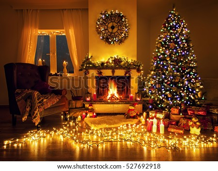 Beautiful living room fireplace christmas tree stock photo 526989253 shutterstock for Pictures of living rooms decorated for christmas