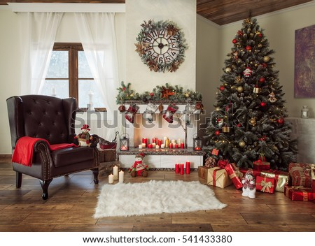 Beautiful Decorated Living Room With A Christmas Tree And A Fire Place Part 92