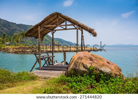 Beautiful Decorated Romantic Wedding Table on  Tropical Beach. Thailand - stock photo