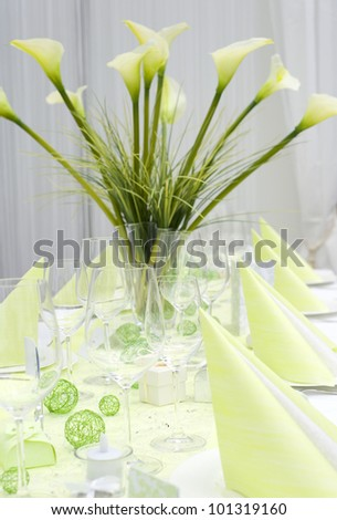 beautiful decorated wedding table, light green colored - stock photo
