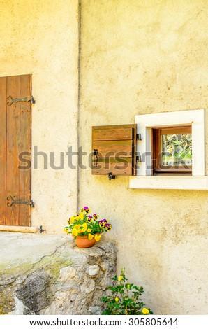 Beautiful decorated window in italy - stock photo