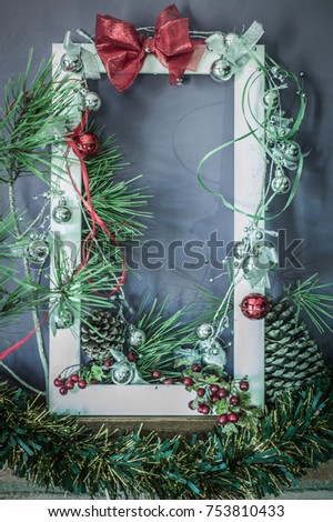 beautiful decoration christmas background with xmas frame. Photo with retro-film effect