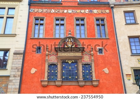 Beautiful decorations of a building on the streets of Prague Old Town, Czech Republic - stock photo