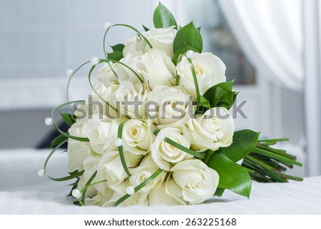beautiful decorative bouquet of roses wedding - stock photo
