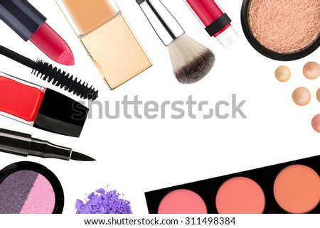 Beautiful decorative cosmetics and makeup brushes, isolated on white - stock photo
