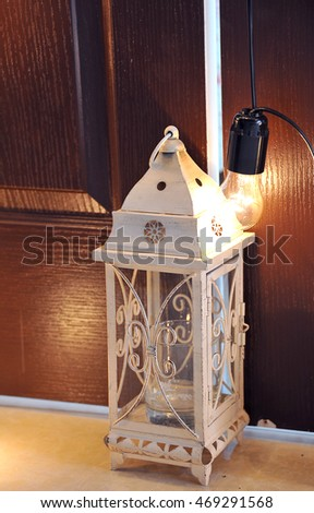 Beautiful decorative lantern in a stylish contemporary interior