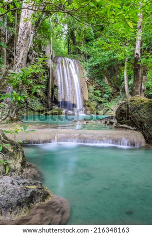 Beautiful deep forest waterfall of Erawan waterfall in Kanchaburi, Thailand