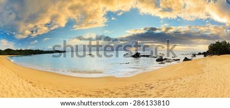 Beautiful 180 degree panorama at the beach of Masoala national park, Madagascar - stock photo