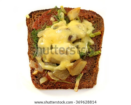 Beautiful delicious sandwich c cheese and porcini mushrooms photographed close up