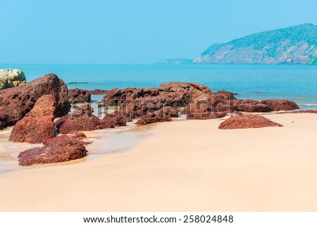 beautiful deserted beach Cola in South Goa - stock photo