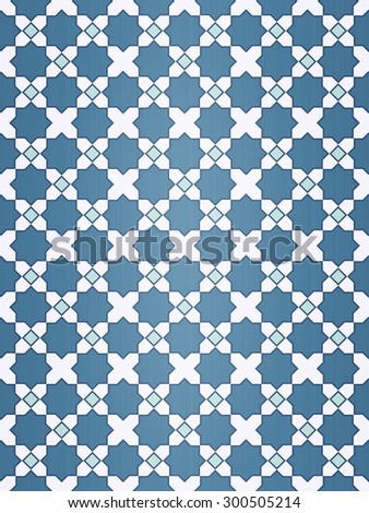 Beautiful design mosaic of colorful tiles pattern in blue and white. - stock photo