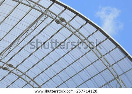 Beautiful design steel roof with good structure and modern on top with blue sky.