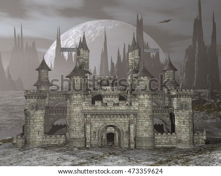 Beautiful detailed castle in front of big moon by grey night - 3D render