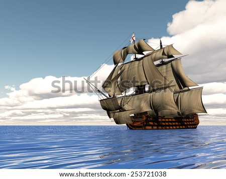 Beautiful detailed old ship HSM Victory floating on the ocean by cloudy day - 3D render