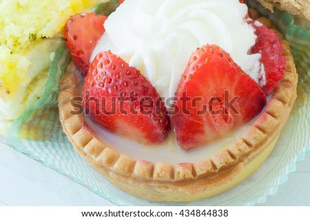 beautiful details of cream and strawberry - stock photo