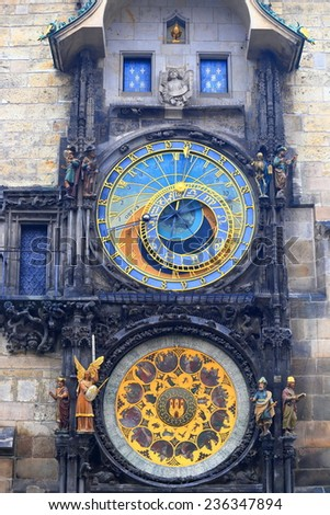 Beautiful dials of the Astronomical Clock inside Prague Old Town, Czech Republic - stock photo