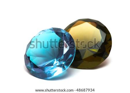 Beautiful diamond crystal isolated on white background - stock photo