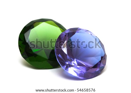 Beautiful diamond crystal isolated on white background - stock photo