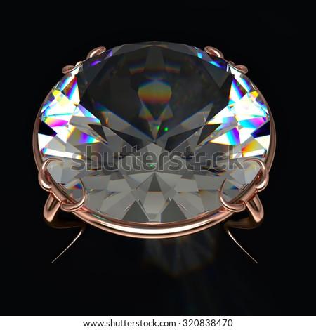 Beautiful diamond on grey background. Macro view - stock photo