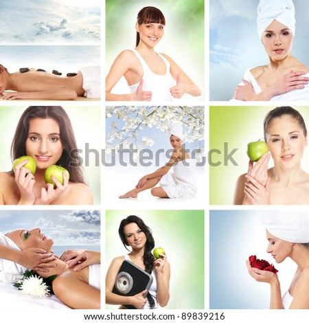 Beautiful dieting collage made of some pictures - stock photo