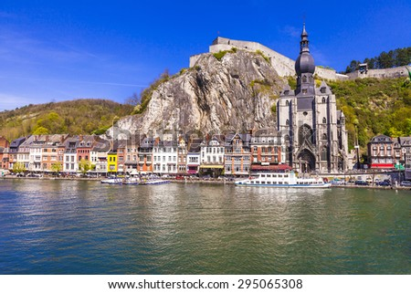 beautiful Dinant at the river Meuse in Belgium - stock photo