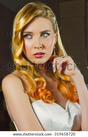 Beautiful Dirty Blonde With Long Hair Posing on Her Wedding - stock photo