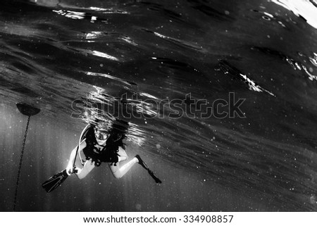 beautiful diver blonde girl diving in the deep blue sea