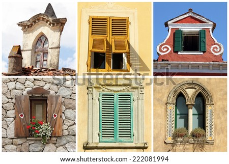 beautiful diversity of old windows in Italy  - stock photo