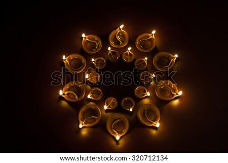 beautiful diwali diya like flower petals - stock photo