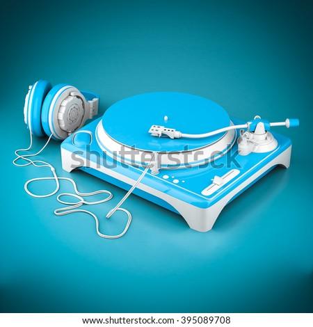 Beautiful DJ player on a blue background - stock photo