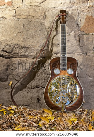 Beautiful Dobro guitar leaning against a wall  - stock photo