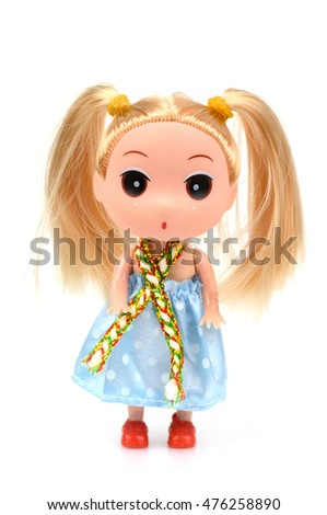 Beautiful dolls with blond hair isolated on white background.