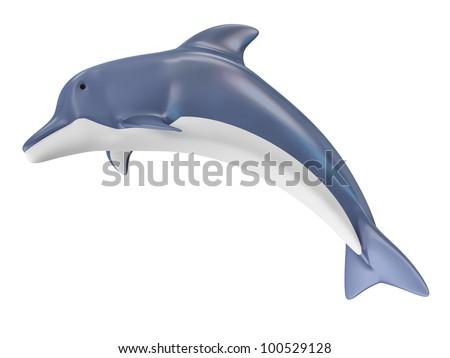 Beautiful Dolphin isolated on white background - stock photo