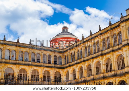 Beautiful dome of the church in Bolivar square in a beautiful blue sky in Bogota, Colombia, Latin America