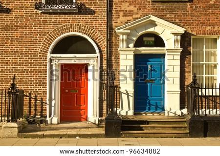 Beautiful doors in Dublin, Ireland - stock photo