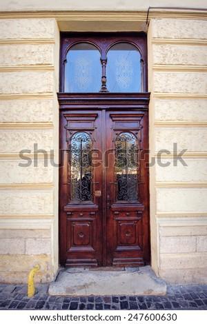 beautiful doors on the street. - stock photo
