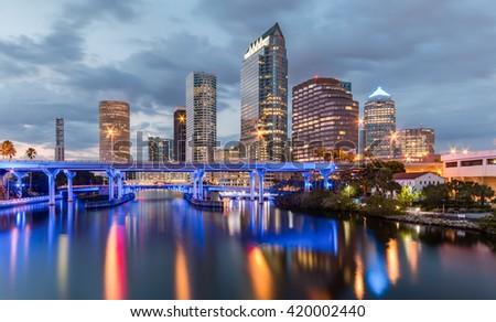 Beautiful downtown Tampa Florida at twilight - stock photo