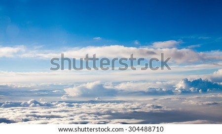 Beautiful, dramatic clouds and sky viewed from the plane