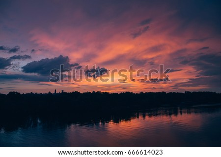 beautiful dramatic cloudy sunset background