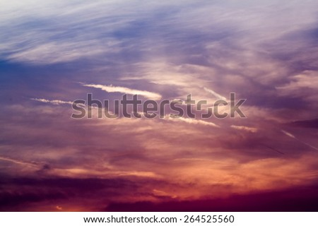 Beautiful, dramatic, colorful clouds and sky at sunset - stock photo